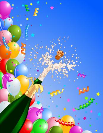 botella champagne: Fondo de celebraci�n con Champa�a y globos. Mejor para nueva Eva de Year?s