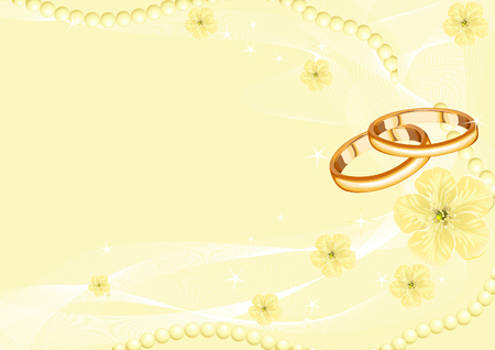 Wedding rings on the yellow background  Vector