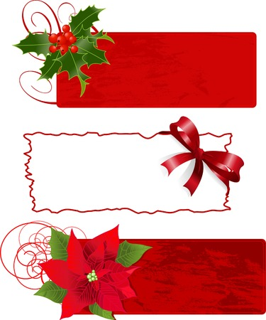 Christmas banners (frames) vector illustration set.