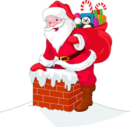 Santa Claus descends the chimney. He keeps a bag of gifts. Vector