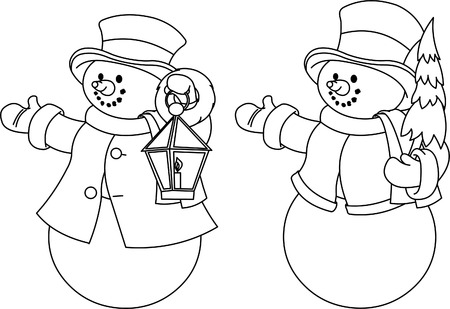 two page: Christmas illustration with two black and white snowmen for coloring Illustration