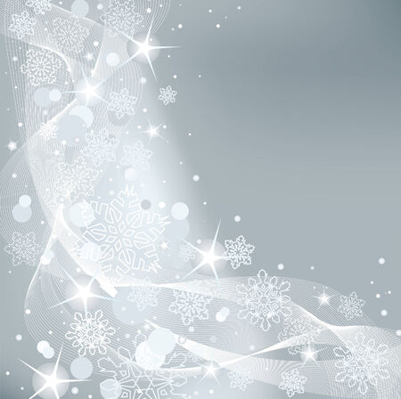 Gray abstract Christmas background with white snowflakes