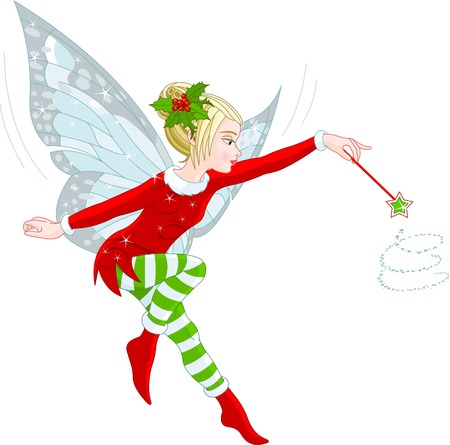 Illustration of a beautiful Christmas fairy in fly 向量圖像