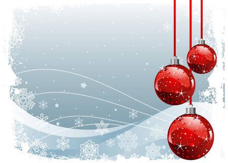 christmas motif: Red Christmas Balls on Christmas snowing background