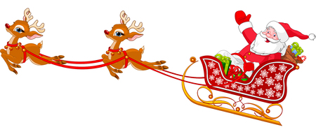 candy cartoon: Cartoon illustration of Santa Claus in his sleigh