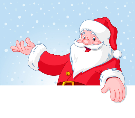 cartoon santa: Christmas Santa Claus over blank greeting (place) card with lift hand