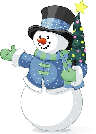 Illustration of cute  snowman with Christmas tree Çizim