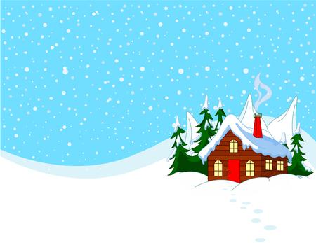 雪の丘の小さな家。牧歌的な冬のシーン。
