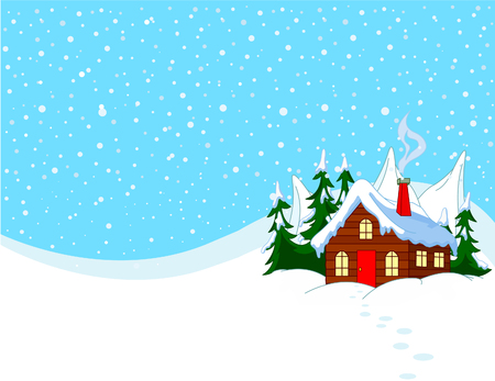 Little house in snowy hills. Pastoral  winter scene. Vector