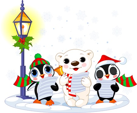 Christmas carolers � cute polar bear and two penguins- under streetlight