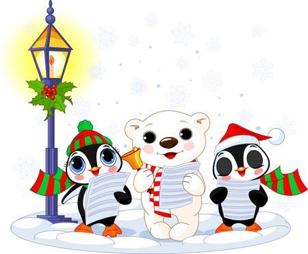 carolers: Christmas carolers � cute polar bear and two penguins- under streetlight Illustration