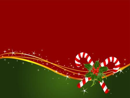 キャンディの杖とクリスマスの背景  イラスト・ベクター素材