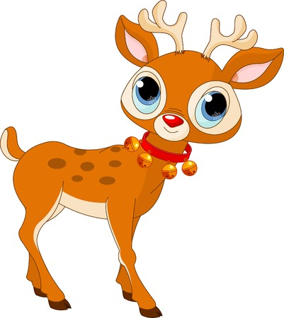 Illustration of beautiful cartoon reindeer Rudolf 일러스트
