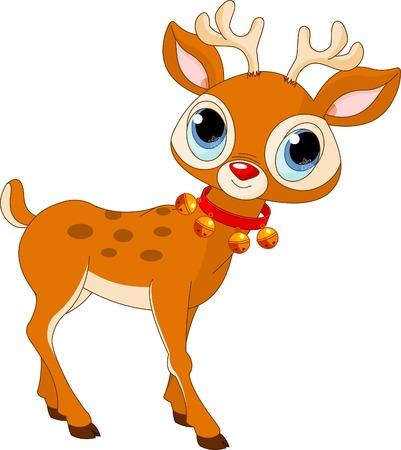 Illustration of beautiful cartoon reindeer Rudolf Vettoriali