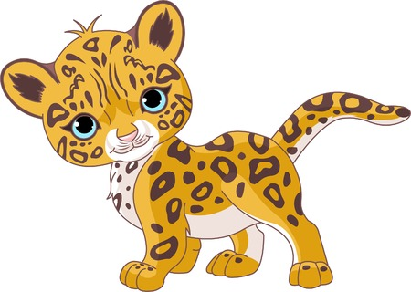 Illustration of Cute Jaguar (Panther) Cub Vector