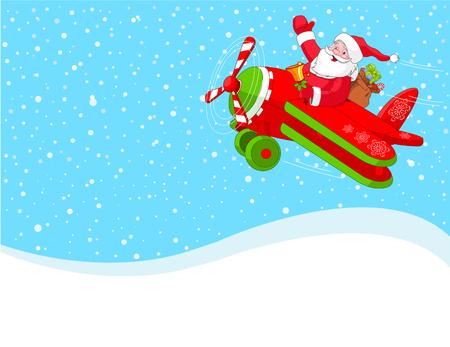 Cartoon illustratie van de Kerst man is vliegen in een vlieg tuig door het sneeuwt lucht ruim.  Gelaagd bestand voor gemakkelijker bewerken.