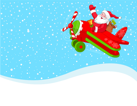 Cartoon illustration of Santa Claus is flying in an airplane through the snowing sky.  Layered file for easier editing.