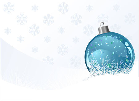 new year card: Christmas background with ball and snowflakes