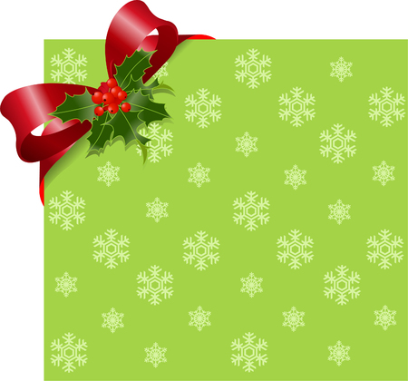 Christmas Green page corner with red ribbon and bow. Place for copytext.