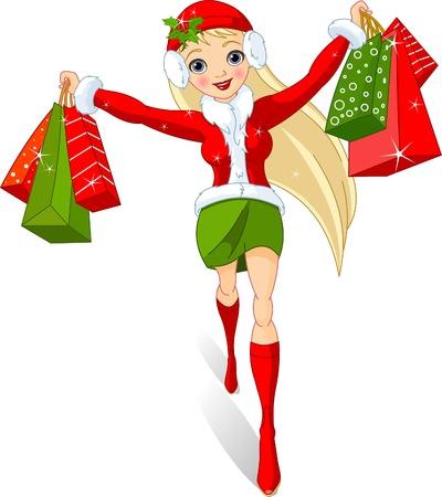 chicas compras:  Compras de Navidad.  Ilustración de una niña con bolsas de compra