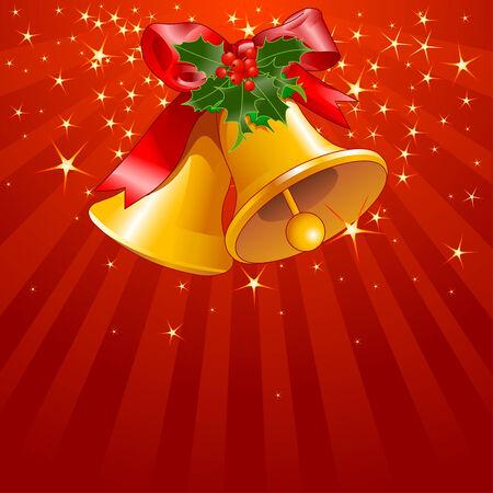 campanas: Fondo de rayas y estrellas de vacaciones con campanas de Navidad