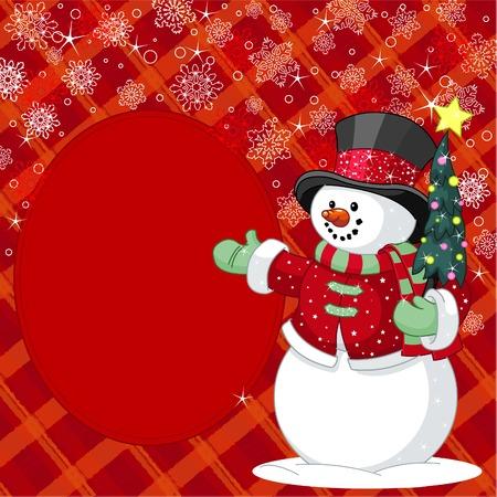 Muñeco de nieve feliz con tarjeta de lugar de árboles de Navidad