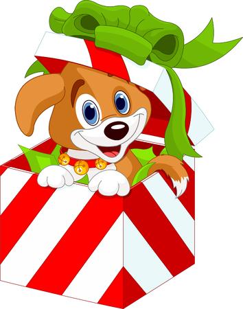 Adorable chiot dans une boîte cadeau de Noël