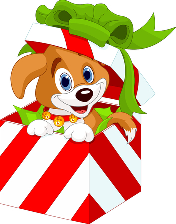Cute puppy in a Christmas  gift box