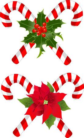 caramelos navidad: Dos bast�n de caramelo de Navidad decorado dise�os Vectores