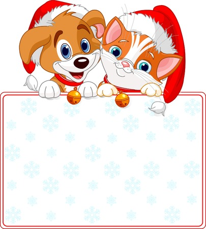 Christmas Cat and dog holding sign (add your own message) Vector