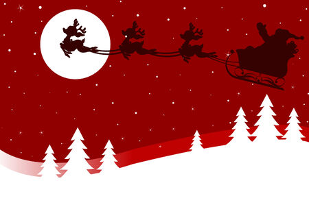 Christmas greeting card with Santa Claus sled