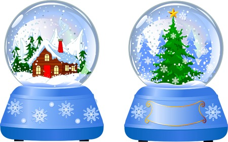 sphere: Illustration of two Christmas beautiful  Snow Globes