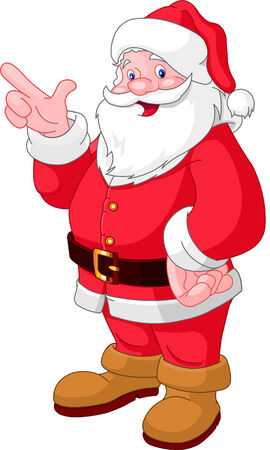 Happy Christmas Santa Claus pointing