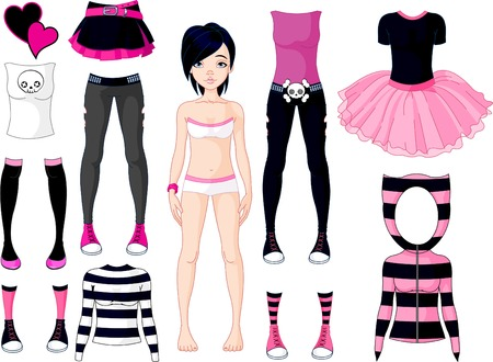emo: Paper Doll with different dresses .  Emo stile Illustration