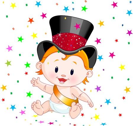Schattige baby in een hoge hoed met partij confetti