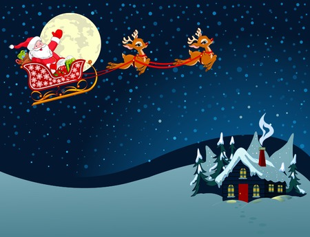Cartoon illustration of Santa Claus in his sleigh Vector