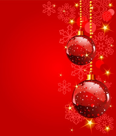 Red Christmas Balls on red snowing background