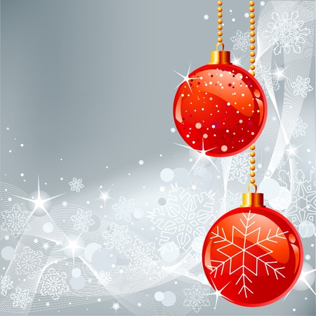 Gray abstract Christmas background with white snowflakes and balls Çizim