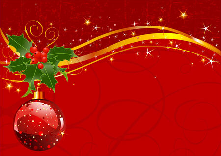 Christmas background with holly berry and decorations for your design Vector