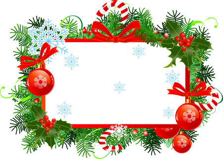 Christmas  frame with red Christmas balls. Stock Vector - 8426146