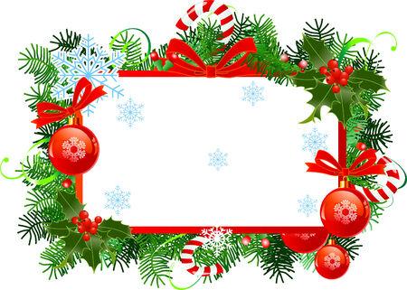Frame met Kerst mis met rode kerst ballen.