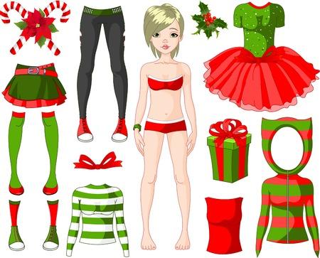 Papier pop met verschillende kerst jurken
