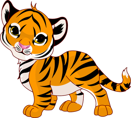 Image of walking cute baby tiger Vector