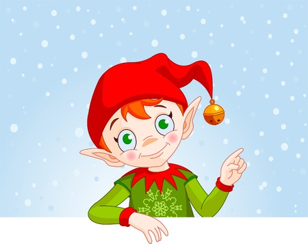 Cute Christmas Elf with a place card or invite 向量圖像