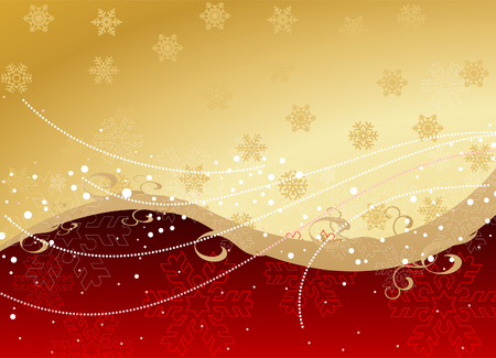 Background with snowflakes and decoration for your design in red and gold colors
