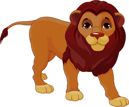 Fully editable  illustration of a walking cartoon Lion Vector