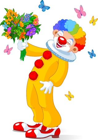 Illustration of Cute Clown with bouquet of flowers