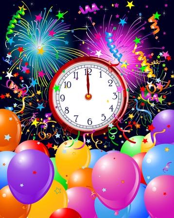 時計じかけの新年の背景。コピースペース。新しい年のために適した  イラスト・ベクター素材