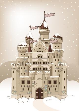 fortress: Invitation card with Magic Fairy Tale Winter Princess Castle