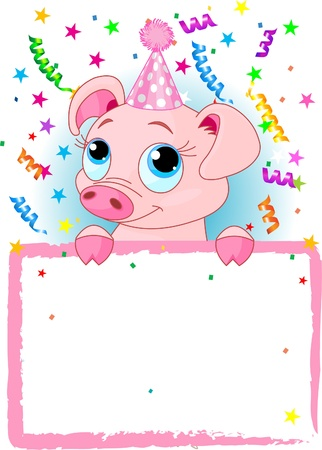 Adorable Piglet Wearing A Party Hat, Looking Over A Blank Starry Sign With Colorful Confetti Vector